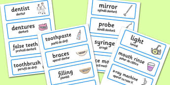 Dental Surgery Role-Play Word Cards Romanian Translation  - romanian
