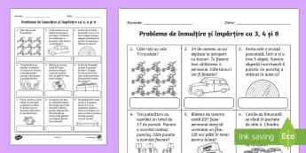 Probleme de înmulțire și împărțire cu 3, 4 și 8 - Fișă de lucru  - matematică, înmulțire, împărțire, mate, înmulțiri, tabla înmulțirii, îmăpărțiri,Romani