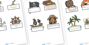Editable Self Registration Labels (Pirates) - Self registration, register, editable, labels, registration, child name label, printable labels,  pirate, pirates, treasure, ship, jolly roger, ship, island, ocean