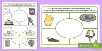Rhyming Playdough Mats - Phase 1, Aspect 4, Rhythm, Rhyme, letters and sounds, phonics, rhyming,  rhyme, fine motor, play doh