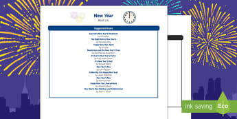 New Year Book List - EYFS, Early Years, New Year's, January, New Year's Eve, New Year Resolutions, Literacy, reading.