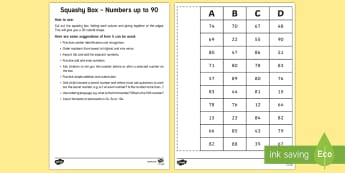 Squashy Boxes Numbers to 90 Craft - squashy box, squashy boxes, squashy, box, boxes, numbers, number, numbers to 90, craft, activity, maths, mathematics