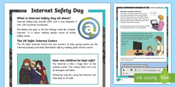 KS2 Internet Safety Day Differentiated Fact File - Internet Safety Day, safety online, staying safe online, personal details, strangers, devices, uses