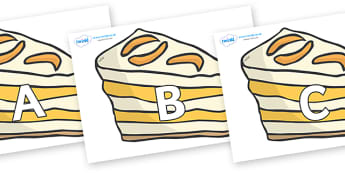 A-Z Alphabet on Peach Dessert to Support Teaching on The Lighthouse Keeper's Lunch - A-Z, A4, display, Alphabet frieze, Display letters, Letter posters, A-Z letters, Alphabet flashcards