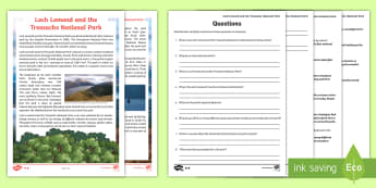 Loch Lomond and The Trossachs Differentiated Reading Comprehension Activity - CfE Literacy, reading comprehension strategies, Scotland, Scottish, mountains, lochs, woodland, phys