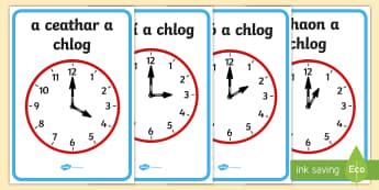 Analogue Clocks, Hourly O'Clock Display Posters - ROI, Time, Am, an t-am, clock, an chlog, clog, o'clock,Irish, gaeilge