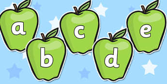 A-Z Alphabet on Apples - Apple, apples, Alphabet frieze, Display letters, Letter posters, A-Z letters, Alphabet flashcards, harvest, fruit