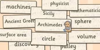 Archimedes Word Cards - archimedes, word cards, word, cards