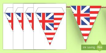 Grand Union Flag Display Bunting - Social Studies, History, Colonial America, Thirteen Colonies, Original U.S. Flag