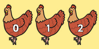 Numbers 0-30 on Little Red Hens - numbers, 0-30, little red hens, eyfs, numeracy