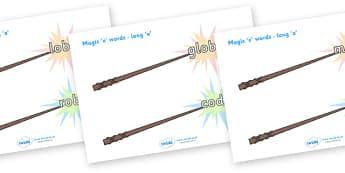 Magic E Words On Wands Long O - magic e words, words, long o , literacy, sounds, wands
