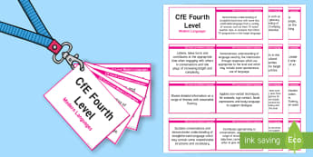 CfE Fourth Level Modern Languages Lanyard-Sized Benchmarks - CfE Benchmarks, tracking, assessing, progression, modern languages, modern foreign languages, ml, mf