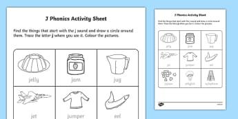 j Phonics Activity Sheet-Irish, worksheet