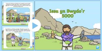 Pwerbwynt Stori'r Beibl Iesu yn Bwydo'r 5000 - Iseu, Beibl, pum mil, 5000, bwydo, bwydo'r, stori, addysg crefyddol, crefydd,Welsh