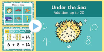Under The Sea Themed Addition to 20 PowerPoint - under the sea, addition, powerpoint, 20
