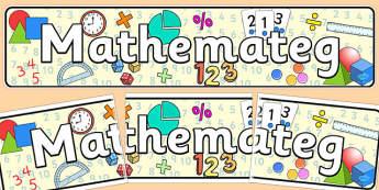 Baner 'Mathemateg' - math, maths, welsh, cymraeg