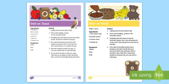 Bear and Owl on Toast Recipes - Whatever Next, Jill Murphy, teddy bear, baby bear, owl babies