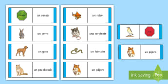 Animal Loop Card Game - Spanish, Vocabulary, KS2, pets, animals, cards, game, dominoes, loop