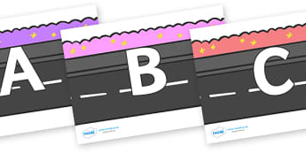 A-Z Alphabet on Roads - A-Z, A4, display, Alphabet frieze, Display letters, Letter posters, A-Z letters, Alphabet flashcards