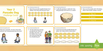 Year 2 Pancake Day Challenge Cards - Year 2, year two, yr 2, maths skills, maths challenge cards, Pancake Day, Shrove Tuesday, addition,