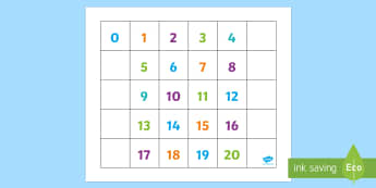 0-20 Numbers Bee-Bot Mat - Bee Bot Number Mat - numbers, visual aid, counting aid, count, bee bot, beebot, beebots, numbes, cou