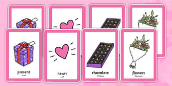 Valentine's Day Pairs Matching Game Arabic Translation - arabic, valentines, day, pairs