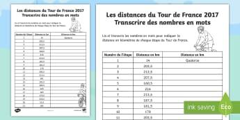 Feuille d'activités : Les distances du Tour de France - Tour de France, KS2, cycle 2, cycle 3, nombres, écrire, numbers, writing, French, spelling, orthogr