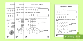 Ordering Fractions Activity Sheet - fractions, activity sheet, math, ordering, practice, worksheet