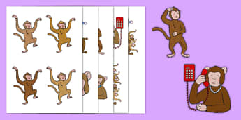 Five Little Monkeys Jumping on the Bed Cut-Outs - rhyme, song, monkey, animal, jungle, EYFS, stick puppets, counting, 5, maths, numeracy
