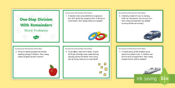 KS2 One-Step Division with Remainders Word Problems Maths Challenge Cards - KS2, Key Stage 2, Year 3, Year 5, Year 6, Y3, Y5, Y6, solve problems, including missing number probl