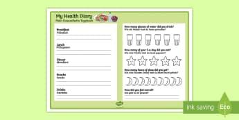 Healthy Living Diary Record Sheet English/German - Healthy Living Diary Record Sheet - healthy living, healthy living diary, healthy eating, healthy ea