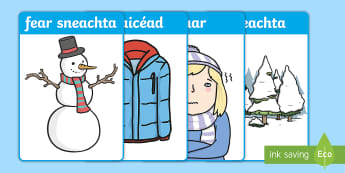 An Fear Sneachta Flashcards Gaeilge - Fear, Sneachta, Flashcards, Gaeilge, snowman, snow, man, winter, flash, cards