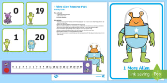 1 More Alien Resource Pack - EYFS Number ELG, mathematics, early years, EYFS Planning, Adult led, number track, numbers, 1-20, co