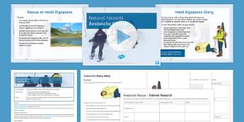Avalanche Rescue! Lesson Pack - Natural Hazards, tornado, hurricane, prepare, predict, formation, avalanche, rescue, hotel rigopiano