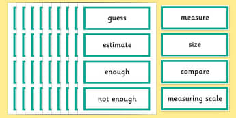 Year 2 Maths Vocabulary Word Cards Measures Shape and Space - maths word cards, year 2 maths word cards, shape words, shape space and measure word cards