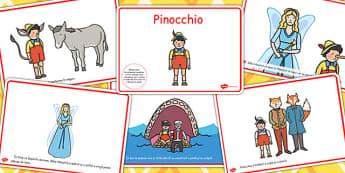 Pinocchio, lectura, rezumat cu imagini, planse imprimabile, Romanian