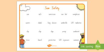Sun Safety Word Mat