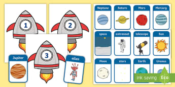 Space Syllables Sorting Activity - syllables, syllable sorting, space, outer space, galaxy, planets, solar system, pre-K literacy, kind