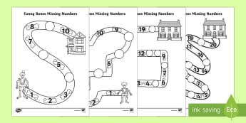 Funny Bones Missing Numbers Activity Sheet