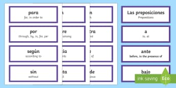 Preposition Word Cards Spanish/English