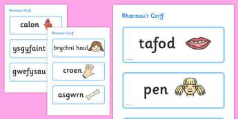 Rhannau'r Corff Topic Word Cards Cymraeg - cymraeg, parts, body, topic, word cards