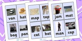 CVC Photo Word Cards a - cvc,  word cards, photo word cards, word flash cards, flash cards, words, key words, keywords, key word cards, photo cards, cards