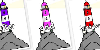 Connectives on Lighthouses - Connectives, VCOP, connective resources, connectives display words, connective displays