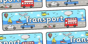 Transport Display Banner - Display banner, transport, car, van, lorry, bike, motorbike, plane, aeroplane, tractor, truck, bus