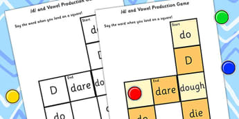 d and Vowel Production Game - d, vowels, games, sound games