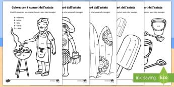 Colora con i numeri dell'estate Fogli da colorare - addizione, sottrazione, numeri, italiano, italian, matematica, colorare, colori, materiale, scolasti