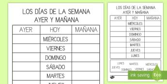 Ficha de actividad: Ayer y mañana - Los días de la semana - ficha, ficha de actividad, días de la semana, días, semana, día, ordenar, orden, ayer, mañana, l