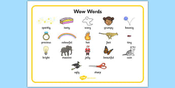 Wow Word Mat - Wow words, adjectives, VCOP, Wow, word mat, writing aid, tasty, scary, ugly, beautiful, colourful sharp, bouncy, vcops