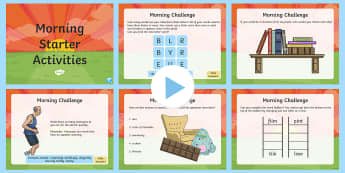 181 Key Stage 2 Morning Starter Activities Set 2 PowerPoint - KS2, UKS2, LKS2, starter activities, morning, activities, straters, timefillers, powerpoint, tasks,