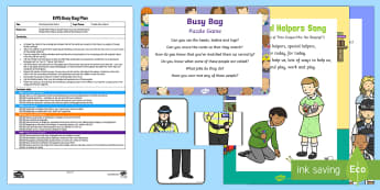 EYFS People Who Help Us Puzzle Game Busy Bag Plan and Resource Pack - People Who Help Us, teacher, role, job, primary, what does a teacher do, responsibilities, duties, s